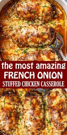 Business Cookware Ought To Be Sturdy And Sensible French Onion Stuffed Chicken Casserole - Vegan Bowl Recipes, Healthy Chicken Recipes, Cooking Recipes, Stuffed Chicken Recipes, Healthy Chicken Casserole, Beef Recipes, Easy Recipes, Stuffing Recipes, Amazing Chicken Recipes