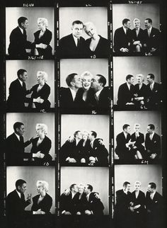 "STUDIO PROMO SHOTS, Contact Sheet: MARILYN MONROE, LAURENCE OLIVIER and author TERRANCE RATTIGAN, who wrote ""The Sleeping Prince."" Monroe bought the rights to his book, which was adapted into ""The Prince and the Showgirl"" (1957) directed by her co-star, Sir Laurence Olivier."
