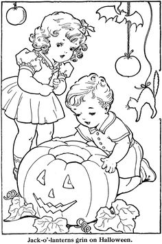 What a sweetly darling vintage children's colouring book page. would love to adapt to an embroidery pattern Vintage Coloring Books, Coloring Book Pages, Printable Coloring Pages, Coloring Sheets, Vintage Embroidery, Embroidery Patterns, Halloween Coloring Pages, Digi Stamps, Copics