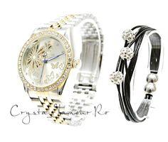 Ceas dama Goer Butterfly cu cristale Swarovski - Crystal Glamour Bracelet Watch, Swarovski Crystals, Butterfly, Glamour, Watches, Bracelets, Accessories, Wrist Watches, Charm Bracelets