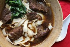 Deeply savory, suggestively spicy, Taiwanese beef noodle soup is true winter comfort food. #noodle #soup #recipe