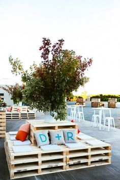 rustic wood pallets wedding lounge decor ideas / http://www.deerpearlflowers.com/wedding-reception-lounge-ideas/