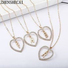 """"""""""" Gold Diamond Necklace / Open Circle Diamond Necklace / Eternity Necklace / Geometric Jewelry / Bridesmaid Gift – Fine Jewelry Ideas """""""" New Fashion Heart Shape Letter Pendant Necklace For Women Crystal Pers – intothea """""""" Letter Pendant Necklace, Letter Pendants, Initial Necklace, Gold Necklace, Heart Pendants, Necklace Chain, Alphabet Necklace, Initial Pendant, Necklace Price"""