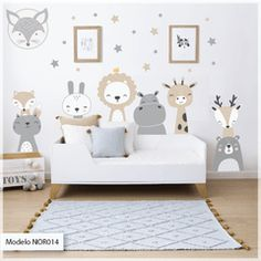 Modelo NOR14 Animalitos nordicos + estrellas Baby Boy Rooms, Baby Bedroom, Baby Room Decor, Nursery Room, Kids Bedroom, Baby Room Design, Nursery Design, Kids Wall Decals, Name Wall Stickers