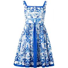 Dolce & Gabbana Majolica Print Dress (15.896.160 IDR) ❤ liked on Polyvore featuring dresses, blue, print dress, zipper back dress, blue pleated dress, cotton print dress and blue sleeveless dress