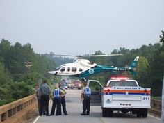 MedCenter Air Medical Helicopter and local fire and rescue crews