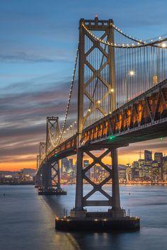 Bay Bridge San Francisco by srongkrod kuakoon | ...Bay Bridge during twilight, San Francisco
