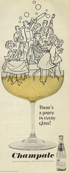 "1964 Illustrated Liquor Ad, Champale, ""There's a Party in Every Glass"" 