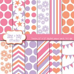 dora inspired purple pink and orange digital by lane + may on Etsy, $5.00