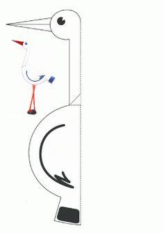 Leylek Kuş Kalıbı. Stork Bird printables. Molde del pájaro.птица.