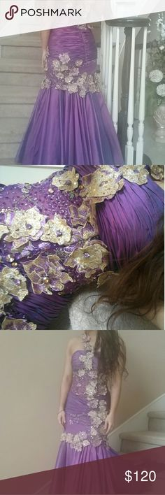 Purple irrodecent gown Sheer bodice, mermaid style Dresses Prom