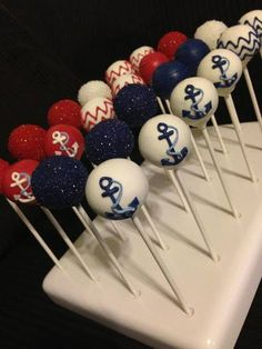 İdeen Easy Cake Anchors Away Cake Pops by Shelly Poppins, Sailor Baby Showers, Anchor Baby Showers, Nautical Party, Nautical Wedding, Nautical Baby Shower Cakes, Nautical Cake Pops, Camo Wedding, Baby Shower Themes, Baby Boy Shower