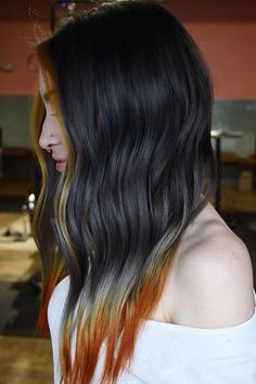 Orange silver gray hair