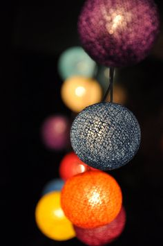 35 Bulbs Mixed colour cotton ball string lights for by ginew, $16.99