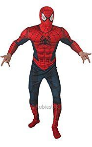 MenS Deluxe Spiderman Padded Chest Suit Fancy Dress Costume #Halloween #Costume #Superhero