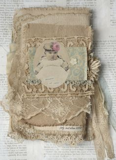 Mixed Media Fabric Collage Book of Little French Babes | eBay art journal
