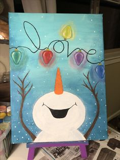 2017 canvas and acrylic paint By Karli Canvas Painting Tutorials, Easy Canvas Painting, Diy Canvas Art, Diy Painting, Canvas Ideas, Canvas Paintings, Christmas Crafts For Kids, Christmas Art, Christmas Projects