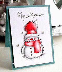 """Card making stamp """"Snowy"""" the snowman Christmas Cards 2018, Stamped Christmas Cards, Homemade Christmas Cards, Xmas Cards, Handmade Christmas, Homemade Cards, Holiday Cards, Christmas Snowman, Merry Christmas"""