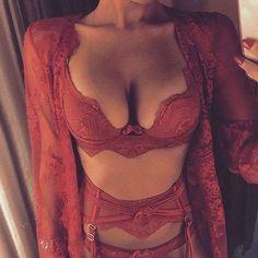 All red lingerie: bra slip garter vest nice cleavage Belle Lingerie, Sexy Lingerie, Lingerie Mignonne, Lingerie Bonita, Pretty Lingerie, Babydoll Lingerie, Beautiful Lingerie, Lingerie Sleepwear, Nightwear