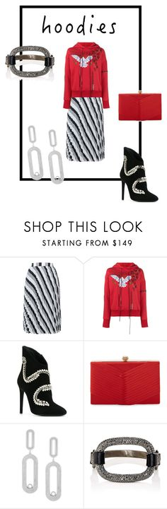 """Red Hood"" by byvette ❤ liked on Polyvore featuring Balenciaga, Alexander McQueen, Giuseppe Zanotti, Badgley Mischka, CHARLOTTE VALKENIERS, Ileana Makri and Hoodies"
