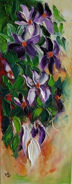 Purple Clematis Impression An original, one-of-a-kind, signed, varnished, IMPASTO oil painting on a high quality stretched canvas. A beautifu Colorful Paintings, Beautiful Paintings, Art Paintings, Art Floral, Oil Painting Texture, Oil Painting For Sale, Flower Pictures, Art Plastique, Abstract Canvas