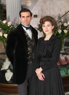 Grégory Fitoussi as Henri Leclair & Aisling Loftus as Agnès Towler in Mr Selfridge
