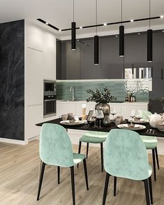 Mint green is a beautiful accent color against the greyscale walls & walnut floor. Sleek pendants over the dining table complete the luxe industrial feel. Kitchen Room Design, Home Room Design, Modern Kitchen Design, Home Decor Kitchen, Interior Design Kitchen, Home Kitchens, Apartment Interior, Interior Design Living Room, Living Room Decor