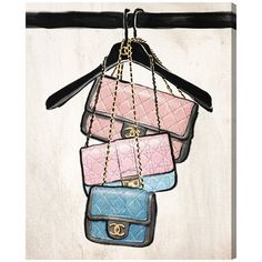 """Oliver Gal 'Closet Purses' Painting Print on Wrapped Canvas Size: 20"""" H x 16"""" W x 1.5"""" D"""