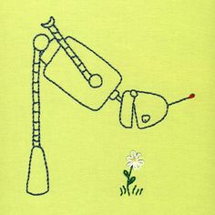 Embroidery: Robot with Daisy embroidery pattern