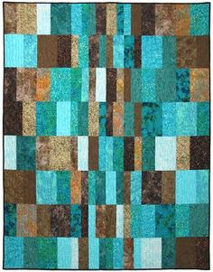 """Morning Noon & Night Quilt Kit Finished size: 60"""" x 76"""" This beautiful turquoise and brown batik quilt was designed by Atkinson Designs. #Turqoise And Brown"""