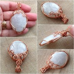 Copper Wire Wrapped Rainbow Moonstone Pendant