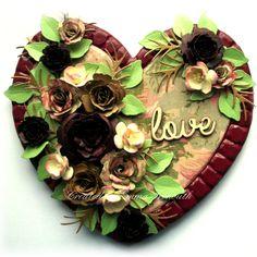 MDF heart home decor wedding present, floral, spellbinders spiral blossoms, cheerylynn