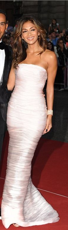 Who made Nicole Scherzinger's pink strapless gown that she wore in London