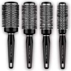 Express Ion Round Brush®  S, M, L and XL available    Helps minimise flyaways and creates a sleek, frizz-free finish. Aluminum barrel heats up during blow-drying to help shape your style. Speeds up drying time.  Express Ion Complex™ moulded into the bristles and barrel helps hair dry faster and controls frizz.  Uniquely shaped corkscrew bristles provide a smoother finish.