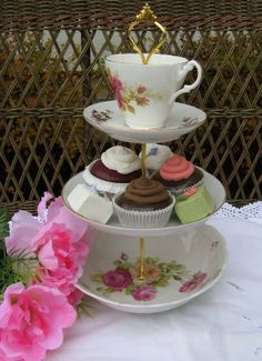 Tea Party Plate Vintage 3 tiered tid bit by TeaPartybyBritgal, $55.00