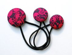 Skull Hair Tie Set   Red and Navy  Covered Button fine by DustyJo, $11.00