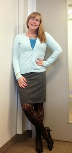 As promised OOTD lace and tweed Mark's sweater Ricki's skirt, nine west heels, tank costco