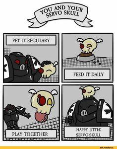 Even more of the cute Servoskull :D by Kathas Artworks Warhammer 40k Memes, Warhammer 40000, Warhammer Art, Warhammer 40k Miniatures, Black Templars, Funny Comic Strips, Funny Memes, Hilarious, Saga