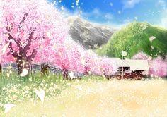 Anime scenery- sakura trees