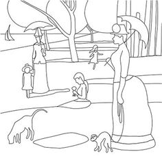 Coloring page: Sunday Afternoon on the Island of La Grande Jatte - Georges Seurat. Scrapcoloring website for kids includes links to other coloring pages of famous artworks Georges Seurat, Art Worksheets, Famous Artwork, Art Club, Art Plastique, Colouring Pages, Art Activities, Teaching Art, Elementary Art