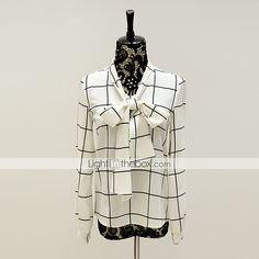 2016年 /カジュアル/ワークシンプル/洗練されたチェック柄のシャツを外出dabuwawaの女性の、長袖スタンド確認 5164333 コレクション – $24.88