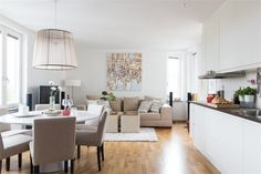 Espacio abierto ... cocina, comedor, estar ... en un depto. escandinavo de 49 m2 ...