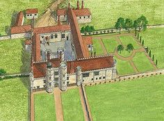 A reconstruction drawing showing how the abbey may have looked in the mid-16th century after the building of Place House