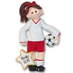 RESIN  Soccer Player Girl  Personalized Christmas Ornament