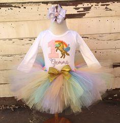 Unicorn Rainbow 1st Birthday Tutu Outfit by PartyDecorandMoore