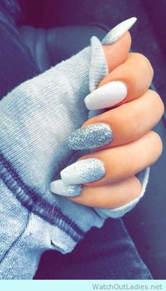 Trendy white and silver coffin nails