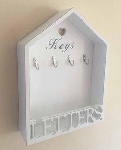 Vintage White Letter Rack & 4 Key Holder Hooks Storage Shabby Chic Wall Mounted
