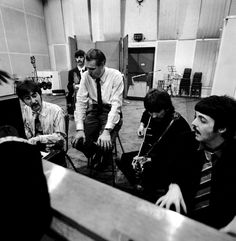 "George Martin (1926 / 2016) producer of the Beatles - Recording session for the album ""Sgt Pepper's Lonely Hearts Club Band."