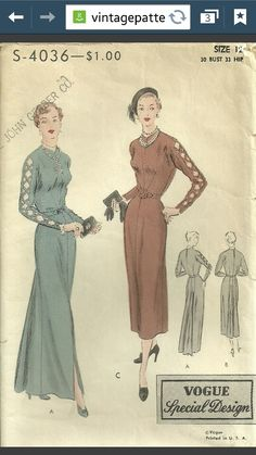 1940s Vogue S-4036 love the sleeve details the rest of the dress not so much