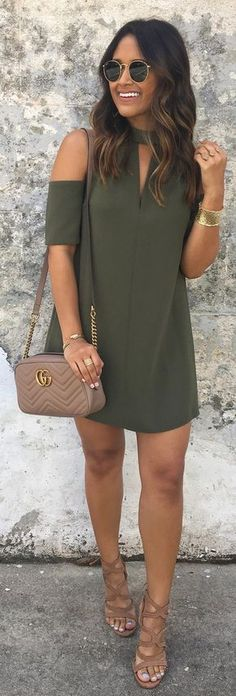 Green Open Shoulder Dress / Brown Leather Shoulder Bag / Brown Sandals